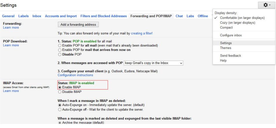 Gmail IMAP Setting